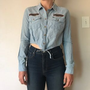 Obey Jean Cropped Button-Up